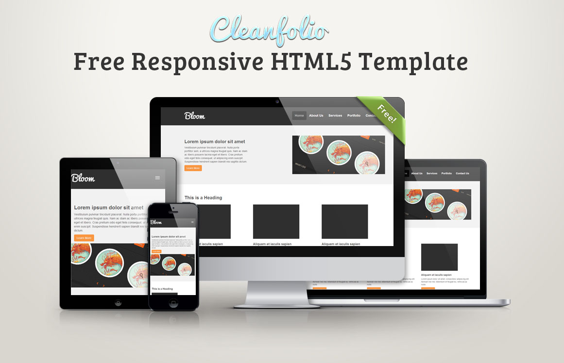 free responsive html5 template2 - Cleanfolio: Download grátis de Template Responsivo em HTML5