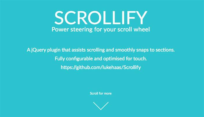 9 – Scrollify - Os 15 melhores Plugins jQuery para criar efeito Scroll Animado com CSS
