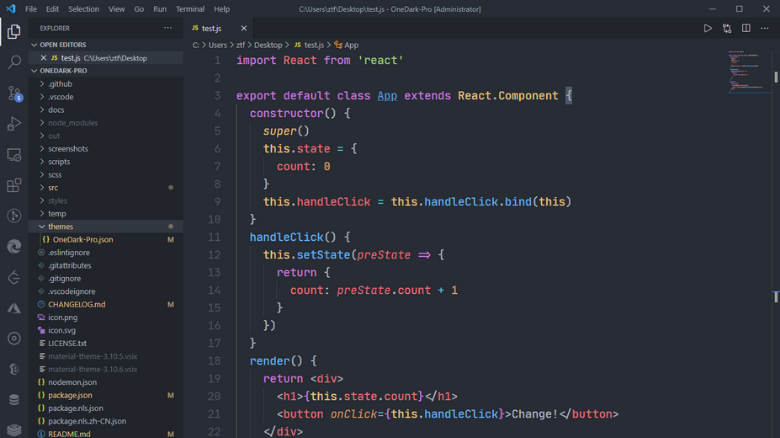 os melhores temas dark para visual studio code one dark pro - Os melhores temas dark para Visual Studio Code