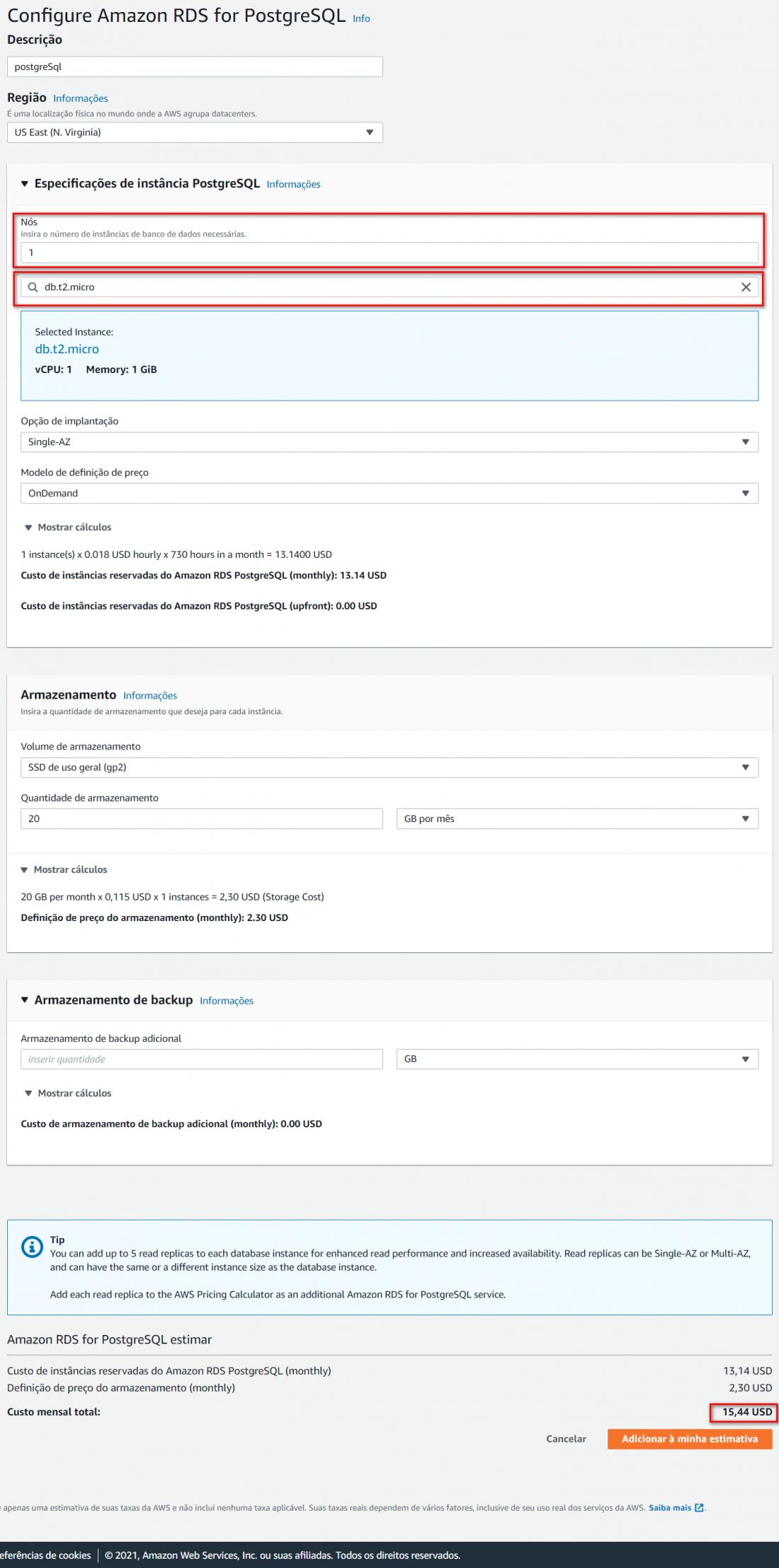 trabalhando com postgresql na aws crie sua primeira instancia 002 1100x2215 - Crie um banco de dados PostgreSql na AWS e conecte-se a ele